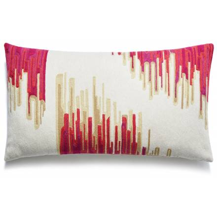 Judy Ross Textiles Hand-Embroidered Chain Stitch Ikat Throw Pillow cream/orchid/fuchsia/cerise/blonde