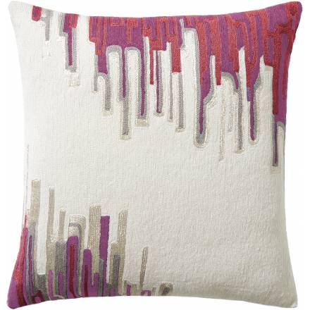 Judy Ross Textiles Hand-Embroidered Chain Stitch Ikat Throw Pillow cream/fog rayon/fog/fuchsia/cerise/orchid