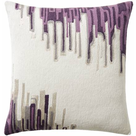 Judy Ross Textiles Hand-Embroidered Chain Stitch Ikat Throw Pillow cream/fog rayon/grape/lilac