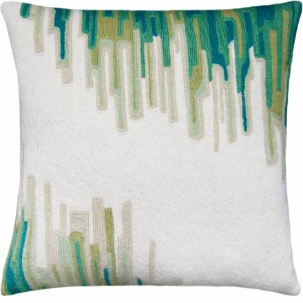 Judy Ross Textiles Hand-Embroidered Chain Stitch Ikat Throw Pillow cream/peacock/aqua/spring green/celery