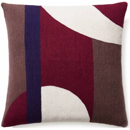 Judy Ross Textiles Hand-Embroidered Chain Stitch LUNA Throw Pillow claret/cream/mauve/purple