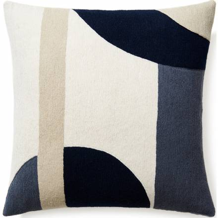 Judy Ross Textiles Hand-Embroidered Chain Stitch LUNA Throw Pillow cream/slate/navy/oyster