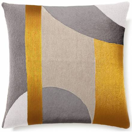Judy Ross Textiles Hand-Embroidered Chain Stitch Luna Throw Pillow cream/smoke/oyster/gold rayon