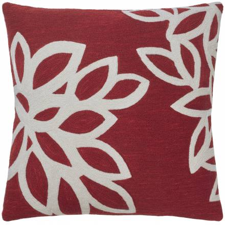 Judy Ross Textiles Hand-Embroidered Chain Stitch Lagoon Throw Pillow rouge/cream