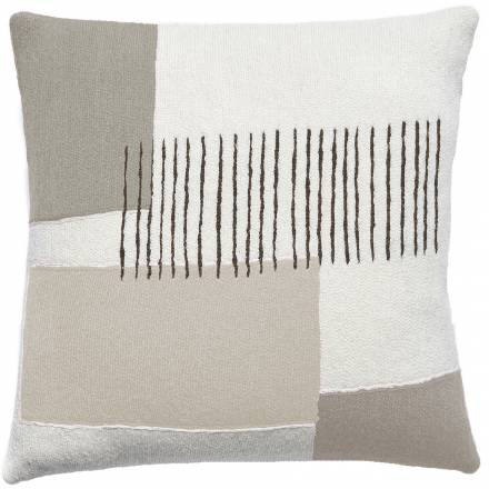 Judy Ross Textiles Hand-Embroidered Chain Stitch Level Throw Pillow cream/smoke/iron/oyster