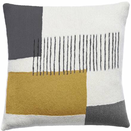 Judy Ross Textiles Hand-Embroidered Chain Stitch Level Throw Pillow cream/curry/fog/dark grey