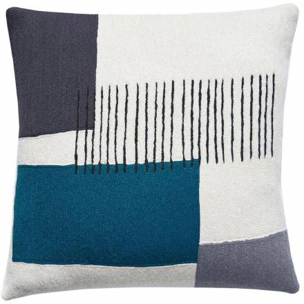 Judy Ross Textiles Hand-Embroidered Chain Stitch Level Throw Pillow cream/dark grey/charcoal/tropical blue/slate