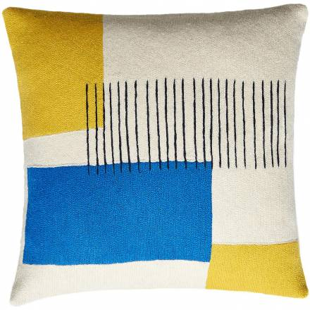 Judy Ross Textiles Hand-Embroidered Chain Stitch Level Throw Pillow cream/yellow/navy/marine