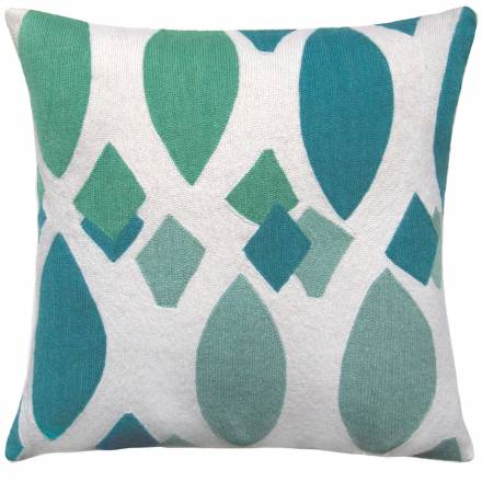 Judy Ross Textiles Hand-Embroidered Chain Stitch Marquise Throw Pillow cream/peacock/pool/aqua