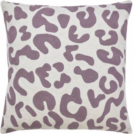 Judy Ross Textiles Hand-Embroidered Chain Stitch Mingle Throw Pillow cream/lilac