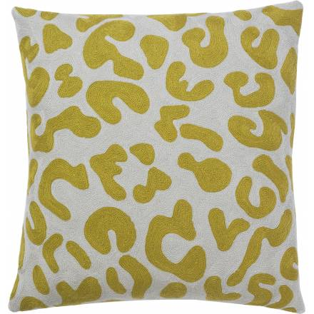 Judy Ross Textiles Hand-Embroidered Chain Stitch Mingle Throw Pillow oyster/curry