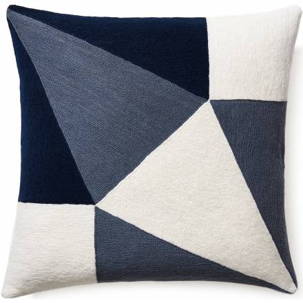 Judy Ross Textiles Hand-Embroidered Chain Stitch PRISM Throw Pillow cream/slate/navy