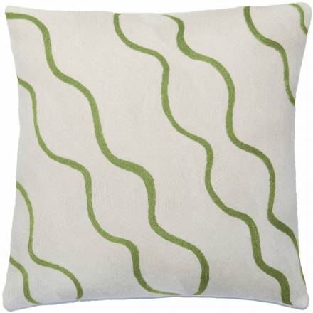 Judy Ross Textiles Hand-Embroidered Chain Stitch Parade Throw Pillow cream/spring green