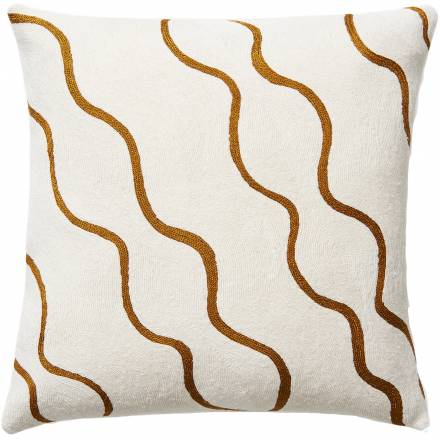 Judy Ross Textiles Hand-Embroidered Chain Stitch Parade Throw Pillow cream/gold rayon