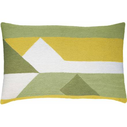 Judy Ross Textiles Hand-Embroidered Chain Stitch Perspective 14x24 Throw Pillow cream/celery/spring green/yellow