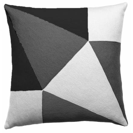 Judy Ross Textiles Hand-Embroidered Chain Stitch Prism Throw Pillow cream/dark grey/charcoal