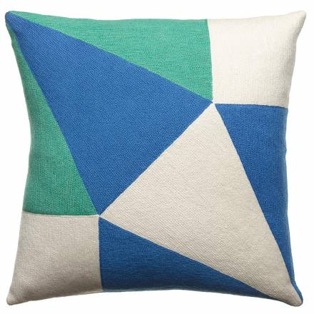 Judy Ross Textiles Hand-Embroidered Chain Stitch Prism Throw Pillow cream/aqua/marine