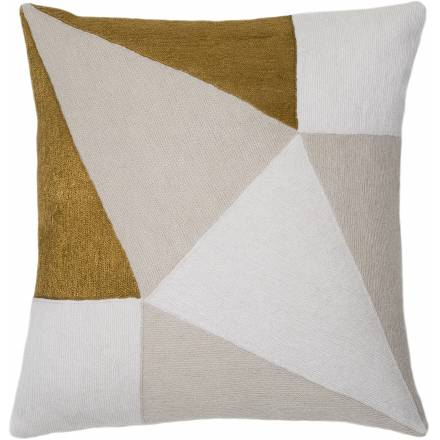Judy Ross Textiles Hand-Embroidered Chain Stitch Prism Throw Pillow cream/oyster/gold rayon