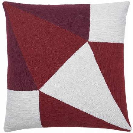 Judy Ross Textiles Hand-Embroidered Chain Stitch Prism Throw Pillow cream/rouge/berry