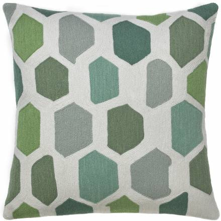Judy Ross Textiles Hand-Embroidered Chain Stitch Quartz Throw Pillow cream/celadon/pool/seabreeze/seafoam/spearmint