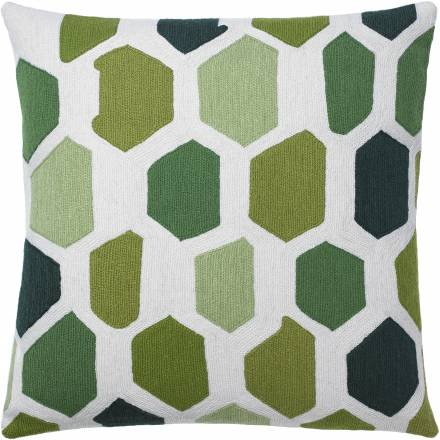 Judy Ross Textiles Hand-Embroidered Chain Stitch Quartz Throw Pillow cream/celery/lime/asparagus/spring green/hunter
