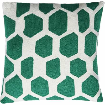 Judy Ross Textiles Hand-Embroidered Chain Stitch Quartz Throw Pillow cream/kelly green