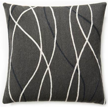 Judy Ross Textiles Hand-Embroidered Chain Stitch Streamers Throw Pillow dark grey/cream/charcoal