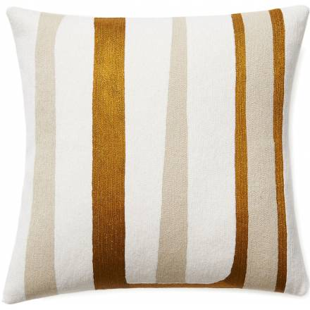 Judy Ross Textiles Hand-Embroidered Chain Stitch STRIPES Throw Pillow cream/oyster/gold rayon