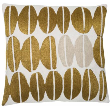 Judy Ross Textiles Hand-Embroidered Chain Stitch Seeds Throw Pillow cream/gold rayon/oyster
