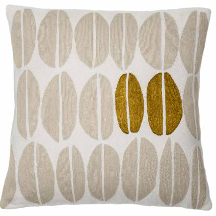 Judy Ross Textiles Hand-Embroidered Chain Stitch Seeds Throw Pillow cream/oyster/gold rayon