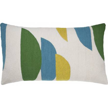 Judy Ross Textiles Hand-Embroidered Chain Stitch Slice 14x24 Throw Pillow cream/asparagus/sky blue/yellow