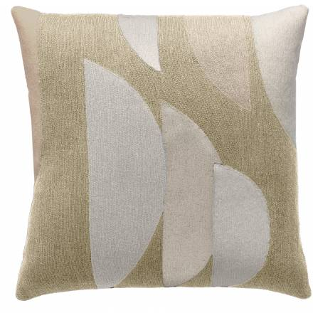 Judy Ross Textiles Hand-Embroidered Chain Stitch Slice Throw Pillow blonde/wheat/cream