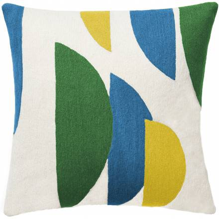 Judy Ross Textiles Hand-Embroidered Chain Stitch Slice Throw Pillow cream/asparagus/sky blue/yellow