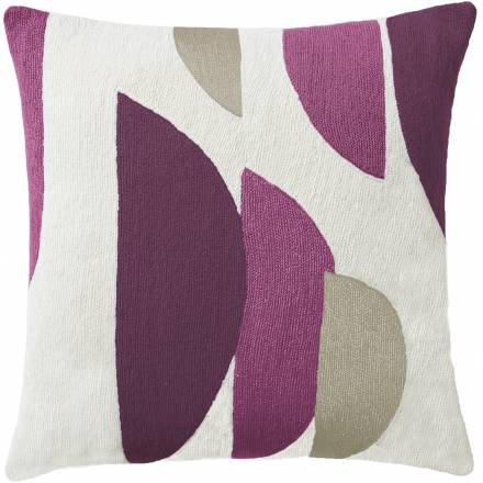 Judy Ross Textiles Hand-Embroidered Chain Stitch Slice Throw Pillow cream/aubergine/fuchsia/oyster