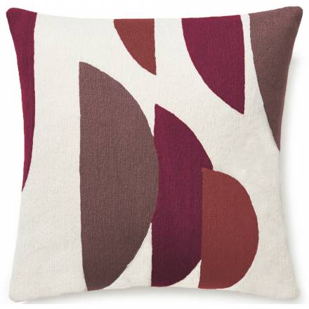 Judy Ross Textiles Hand-Embroidered Chain Stitch Slice Throw Pillow cream/claret/mauve/raspberry