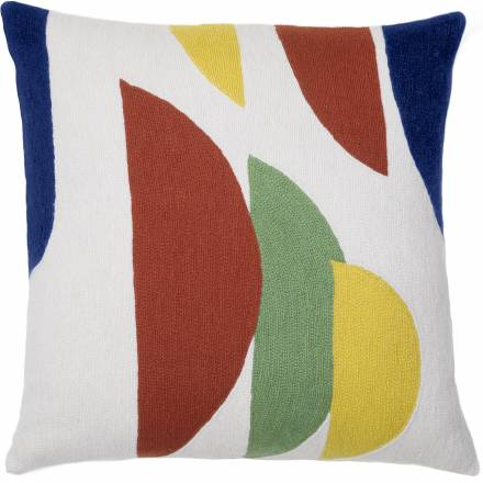 Judy Ross Textiles Hand-Embroidered Chain Stitch Slice Throw Pillow cream/coral/yellow/pistachio/navy