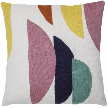 Judy Ross Textiles Hand-Embroidered Chain Stitch Slice Throw Pillow cream/dusty pink/navy/coral/yellow/aqua