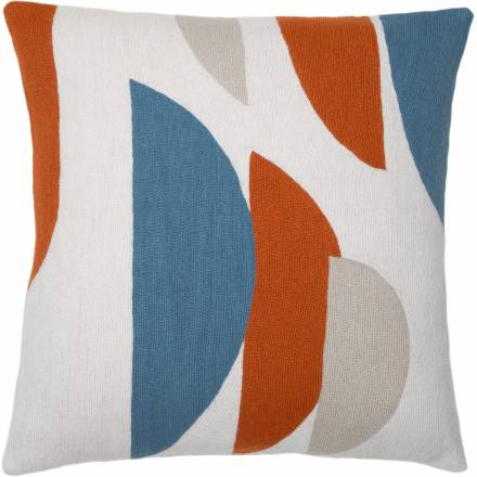 Judy Ross Textiles Hand-Embroidered Chain Stitch Slice Throw Pillow cream/sky blue/coral/oyster