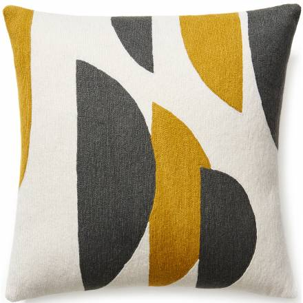 Judy Ross Textiles Hand-Embroidered Chain Stitch Slice Throw Pillow cream/curry/dark grey