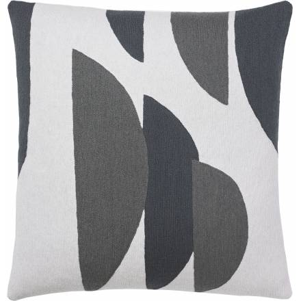 Judy Ross Textiles Hand-Embroidered Chain Stitch Slice Throw Pillow cream/dark grey/charcoal
