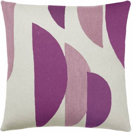 Judy Ross Textiles Hand-Embroidered Chain Stitch Slice Throw Pillow cream/fuchsia/dusty pink
