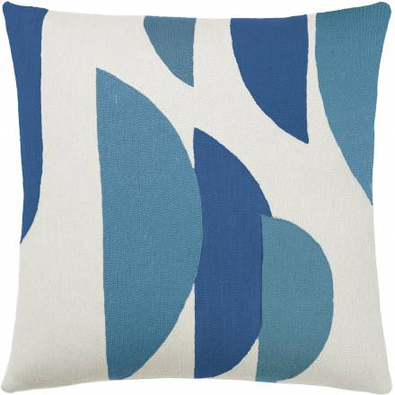 Judy Ross Textiles Hand-Embroidered Chain Stitch Slice Throw Pillow cream/marine/sky blue