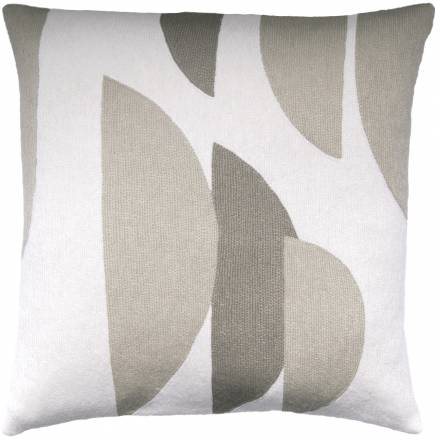 Judy Ross Textiles Hand-Embroidered Chain Stitch Slice Throw Pillow cream/oyster/smoke