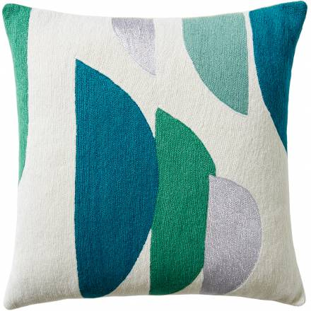 Judy Ross Textiles Hand-Embroidered Chain Stitch Slice Throw Pillow cream/aqua/peacock/fog rayon/pool