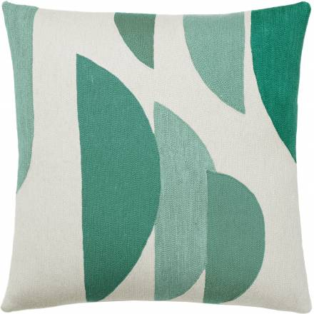 Judy Ross Textiles Hand-Embroidered Chain Stitch Slice Throw Pillow cream/pool/aqua