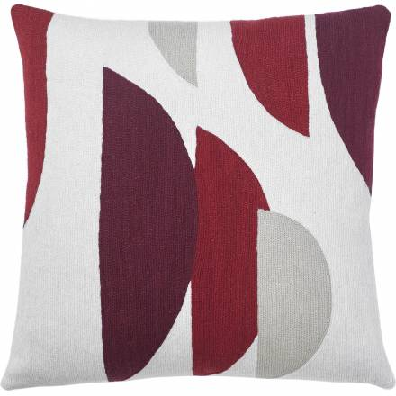 Judy Ross Textiles Hand-Embroidered Chain Stitch Slice Throw Pillow cream/rouge/berry/oyster