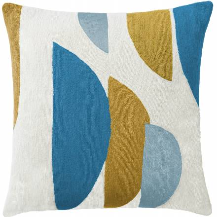 Judy Ross Textiles Hand-Embroidered Chain Stitch Slice Throw Pillow cream/sky blue/curry/powder blue