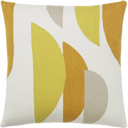 Judy Ross Textiles Hand-Embroidered Chain Stitch Slice Throw Pillow cream/yellow/buttercup/oyster