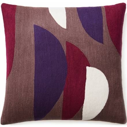 Judy Ross Textiles Hand-Embroidered Chain Stitch Slice Throw Pillow mauve/claret/purple/cream