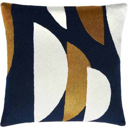 Judy Ross Textiles Hand-Embroidered Chain Stitch Slice Throw Pillow navy/cream/gold rayon